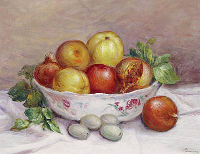 Still Life With A Pomegranate Art Print by Pierre Auguste Renoir