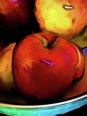 Digital Art - Still Life With A Red Apple by Jackie VanO