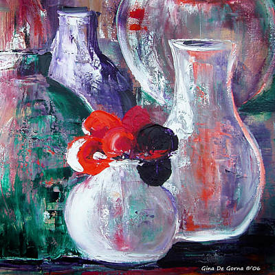 Painting - Still Life With A Red Flower by Gina De Gorna
