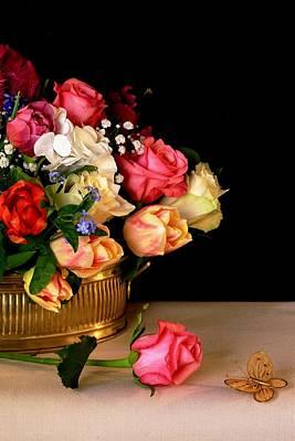 Still Life With A Rose Art Print by Rusalka Koroleva