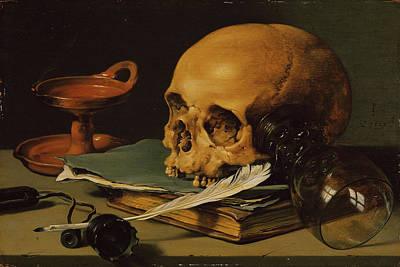 Seventeenth Century Painting - Still Life With A Skull And A Writing Quill by Pieter Claesz