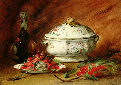 Wine Bottle Painting - Still Life With A Soup Tureen by Guillaume Romain Fouace