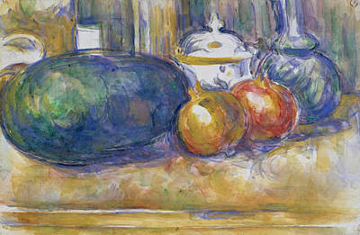 Watermelon Drawing - Still Life With A Watermelon And Pomegranates by Paul Cezanne