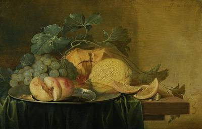 Still Life With A Whole And A Halved Peach On A Pewter Plate, Together With Grapes Art Print by Jan Davidsz