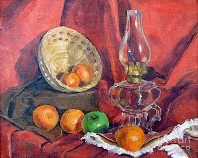 Still Life With Green Apples Painting - Still Life With An Oil Lamp by Susan Lafleur