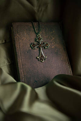 Cross Pendant Photograph - Still Life With An Old Book And Cross Pendant by Jaroslaw Blaminsky