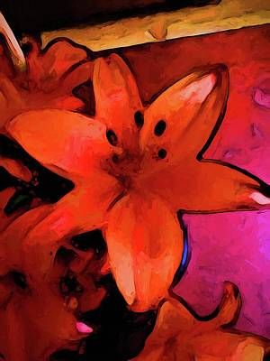 Digital Art - Still Life With An Orange Lily by Jackie VanO