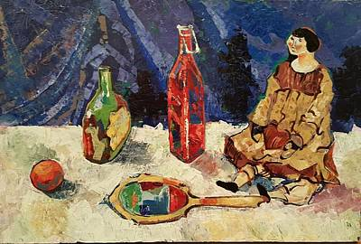 Palette Knife Drawing - Still-life With Antique Mirror  by Talia Prilutsky