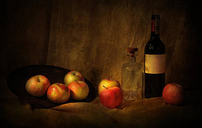 Still Life With Apples And Bottles Art Print by Jaroslaw Blaminsky