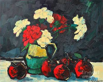 Still Life With Green Apples Painting - Still Life With Apples And Carnations by Ana Maria Edulescu