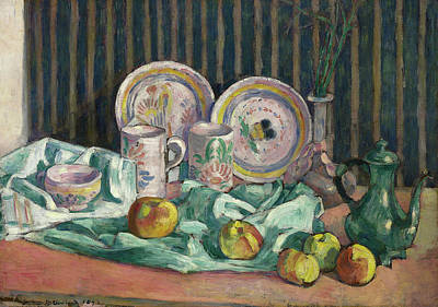 Teapot Painting - Still Life With Apples And Fruit Bowls by Emile Bernard