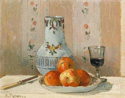 Red Wine Painting - Still Life With Apples And Pitcher, 1872  by Camille Pissarro