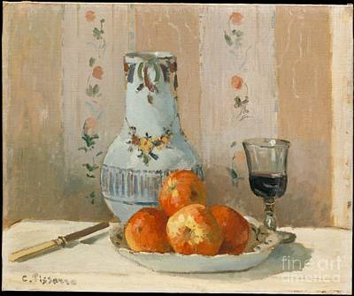 Pitcher Painting - Still Life With Apples And Pitcher by Celestial Images