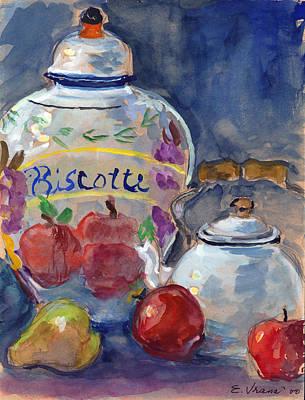 Still Life With Apples And Tea Kettle Art Print by Ethel Vrana