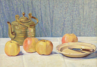 Teapot Painting - Still Life With Apples And Teapot by Ernest Moulines
