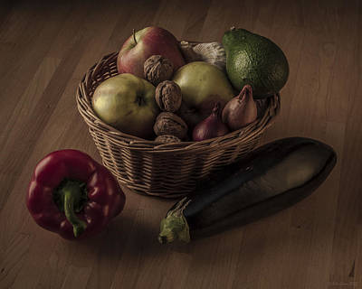 Still Life With Apples And Vegetables In Monochrome Art Print by Julis Simo