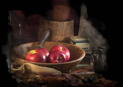 Photograph - Still Life With Apples, Antique Bowl, Barrel And Shakers. by Michele A Loftus