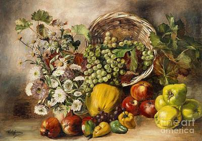 Aster Painting - Still Life With Asters And Basket Of Fruit by Celestial Images
