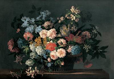Still Life With Basket Of Flowers Art Print