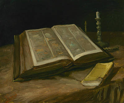 Still Life With Bible Art Print by Vincent van Gogh