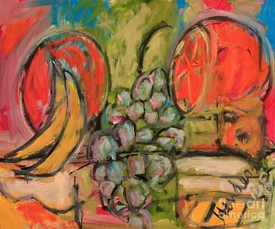 Stil Life Painting - Still Life With Big Orange by Michael Henderson