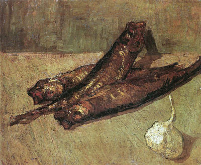 Grate Painting - Still Life With Bloaters And Garlic, 1887 by Vincent Van Gogh
