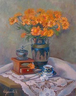 Tea Service Painting - Still Life With Blue Cup by Anna Shurakova