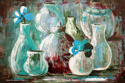 Painting - Still Life With Blue Flowers 2 by Gina De Gorna