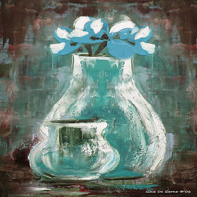 Painting - Still Life With Blue Flowers by Gina De Gorna