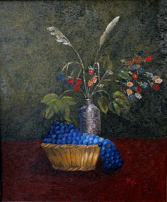 Still Life With Blue Fruit Art Print