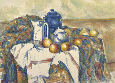 With Blue Painting - Still Life With Blue Pot by Paul Cezanne