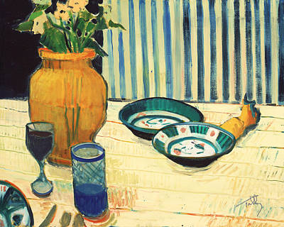 Painting - Still Life With Blue Stripes by Thomas Tribby