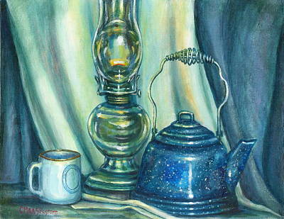 Still Life With Blue Tea Kettle Art Print by Colleen  Maas-Pastore