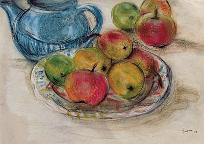 Still Life With Blue Teapot 2 Print by Susan Adams
