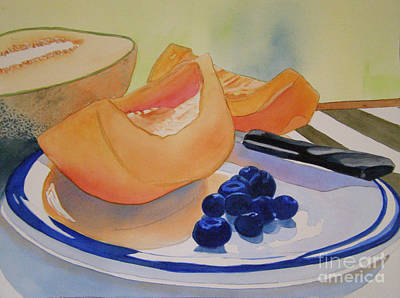 Still Life With Blueberries Print by Teresa Boston