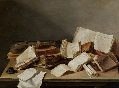 Host Painting - Still A Life With Books And Violin by Jan Davidsz de Heem