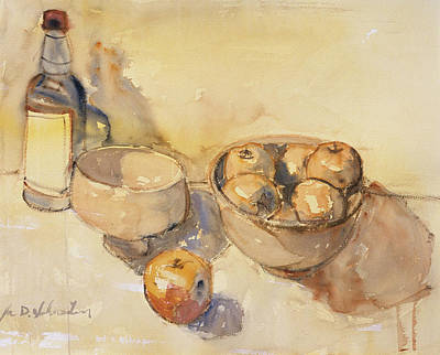 Still Life With Bottle And Apples Art Print