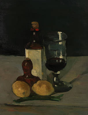 Painting - Still Life With Bottle, Glass, And Lemons by Paul Cezanne