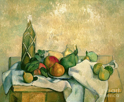 Food Painting - Still Life With Bottle Of Liqueur by Paul Cezanne