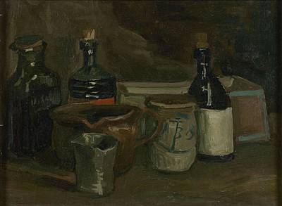 Painting - Still Life With Bottles And Earthenware Nuenen, November 1884 - April 1885 Vincent Van Gogh 1853  by Artistic Panda