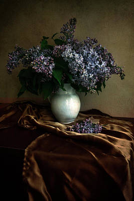 Art Print featuring the photograph Still Life With Bouqet Of Fresh Lilac by Jaroslaw Blaminsky