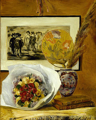 Top With Oil Painting - Still Life With Bouquet 1871 by Pierre Auguste Renoir