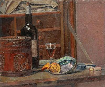 Box Wine Painting - Still Life With Box And Tabaco by Ernest Moulines
