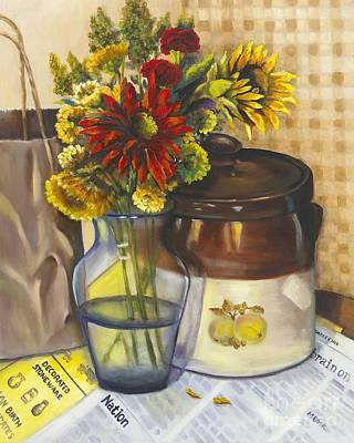Painting - Still Life With Brown Paper Sack by Marlene Book
