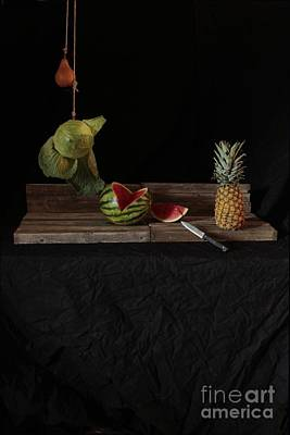 Still Life With Cabbage Pear Melon And Pineapple Art Print