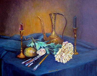 Still Life With Candlesticks And Brass Art Print by Stephen  Hanson