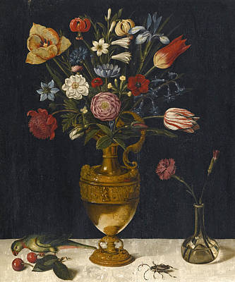 Still Life With Carnations And Other Flowers In A Gilt Vase A Parrot And A Beetle Art Print by German School