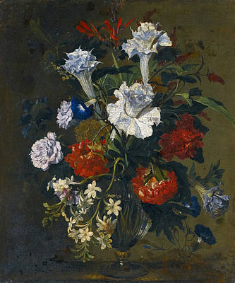 Painting - Still Life With Carnations Lilies Peonies And Other Flowers In A Glass Vase by Hieronymus Galle the Elder