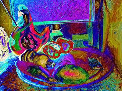 Still Life With Ceramic Chicken Art Print by Howard Lancaster