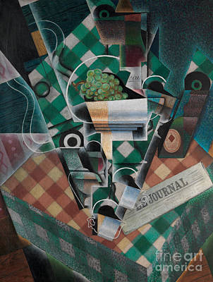 Checkered Tablecloth Painting - Still Life With Checked Tablecloth, 1915 by Juan Gris